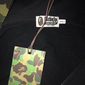 Bape Sweaters - Bape Half Green 1st Camo Full Zip Shark Hoodie